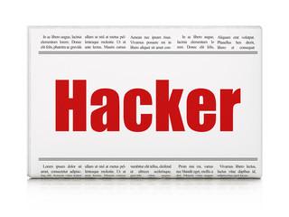 Safety concept: newspaper headline Hacker