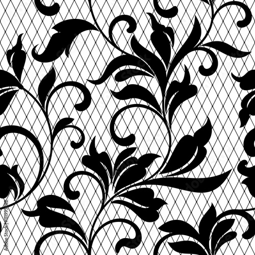 Lace Black Seamless Pattern With Flowers On White Background Lace