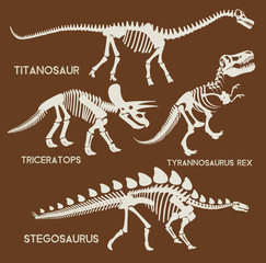 Dinosaurs silhouettes set. Vector flat set illustration