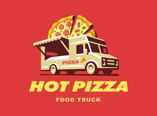 Mobile food truck. Car with pizza. Vector illustration.