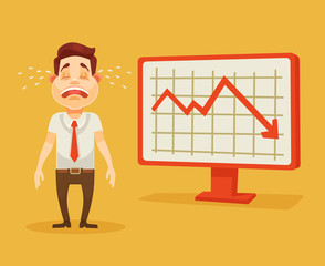 Business fail. Graph down. Crying businessman. Vector flat cartoon illustration
