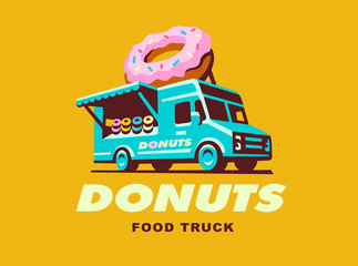 Vector illustration of food truck logo Donuts