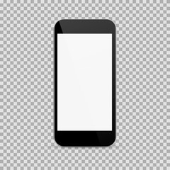 Realistic black smartphone in realistic style with blank screen isolated on white background. Vector illustration