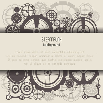 Template with steam punk cogs