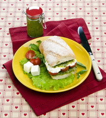 sandwich with greens feta cheese