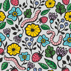 Colorful seamless background with flora and fauna in the garden.