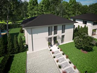 beautiful modern house. 3d rendering