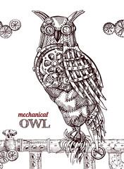 Steampunk style owl.