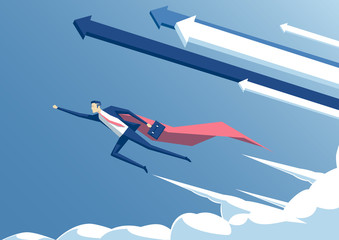 vector illustration businessman superhero or super employee flying in the sky with arrows and clouds, business concept success and professionalism