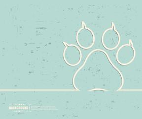 Creative vector animal footprint. Art illustration template background. For presentation, layout, brochure, logo, page, print, banner, poster, booklet, business infographic, wallpaper, sign, flyer.