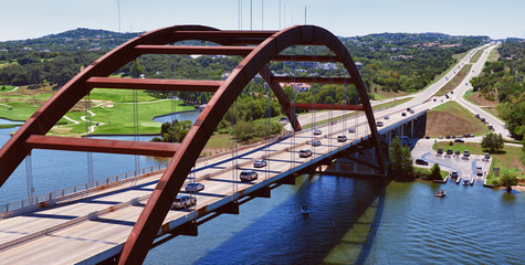 AUSTIN, TEXAS, USA - SEPTEMBER 23, 2013:Pennybacker Bridge in Austin, Texas on September 23, 2013 year.