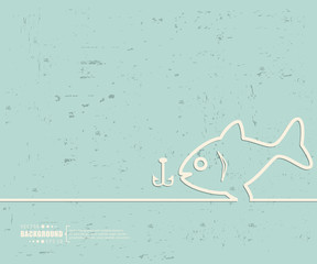 Creative vector fishing. Art illustration template background. For presentation, layout, brochure, logo, page, print, banner, poster, cover, booklet, business infographic, wallpaper, sign, flyer.
