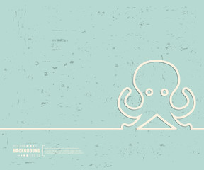 Creative vector octopus. Art illustration template background. For presentation, layout, brochure, logo, page, print, banner, poster, cover, booklet, business infographic, wallpaper, sign, flyer.