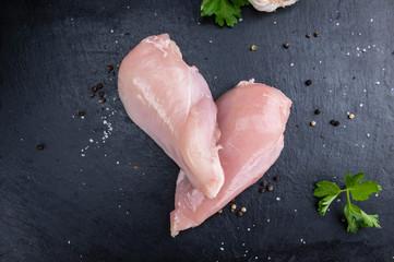 Raw Chicken Meat (on a slate slab)