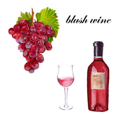 blush wine A bottle, a glass and a bunch of grapes. isolated. Wa
