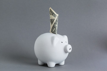 Huge savings in the piggy bank, overflowing with cash