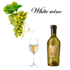 White wine. A bottle, a glass and a bunch of grapes. isolated. W