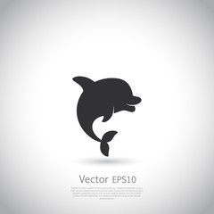 Dolphin icon or logo. Black vector.