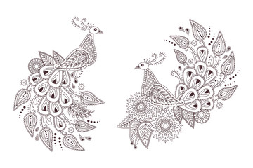 d0d3ef04a Beautiful vector peacock birds in indian paisley style