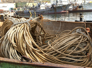 NET and ropes for fishing boat