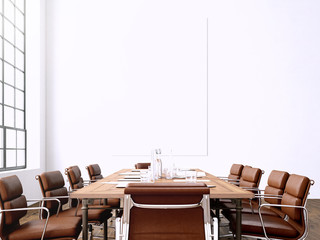 Photo interior modern meeting room with panoramic windows.Blank White Canvas on Wall and Generic Design Armchair in contemporary conference rom.Horizontal mockup. 3D rendering