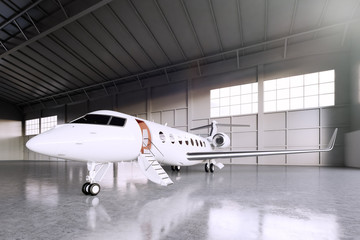 Image of White Matte Luxury Generic Design Private Jet parking in hangar airport. Concrete floor. Business Travel Picture. Horizontal, front angle view. Film Effect. 3D rendering.