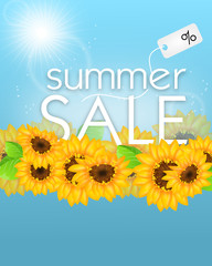 Summer sale with sunflowers