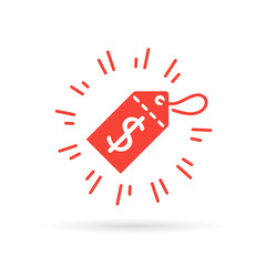 Red tag with discount price sign. Sale promo tag icon. Dollar symbol on red price tag. Vector illustration.