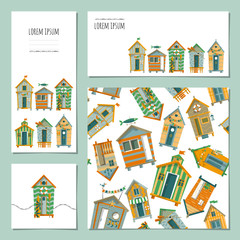 Set of 4 universal cards with beach huts. Template. Beach party,