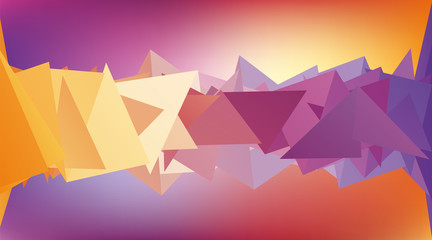 Multicolored low polygon shapes, color mosaic, vector design, creative background, purple and yellow, templates design
