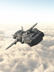 Science fiction illustration of an interplanetary spaceship in the high atmosphere above the clouds of an alien planet, 3d digitally rendered illustration