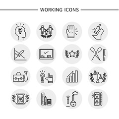 Vector icons set isolated on white background.