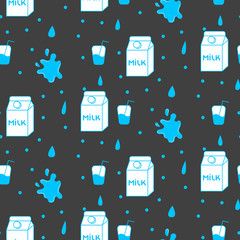 Milk and cookie seamless vector pattern. Dairy fun blue and grey pattern with milk box and milk splash stains on grey.