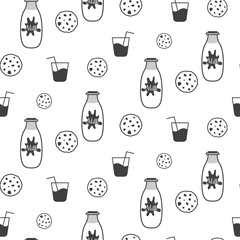 Milk and cookie black and white seamless vector pattern. Milk bottle, biscuits and glass of milk white pattern.