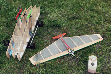 Aircraft model on ground. Many different wings