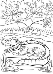 Coloring pages. Animals. Little cute alligator sits in the lake.
