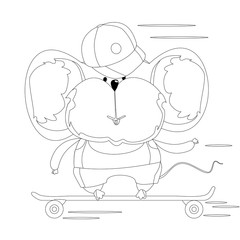 Mouse in a cap on a skateboard. Cartoon character. Outline drawing for coloring.
