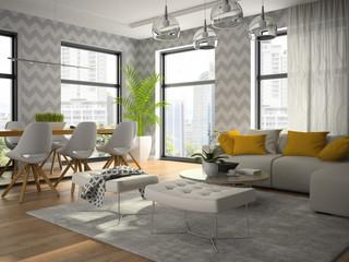 Interior of modern design room with grey wallpaper 3D rendering