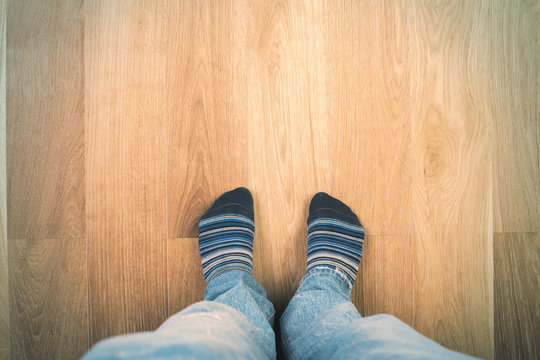 Man's feet in socks