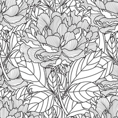 Seamless Peony bouquet. Vector. Coloring book page for adults. Hand drawn artwork.