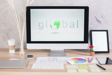 Global network on creative desktop