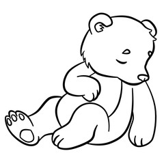 Coloring pages. Wild animals. Little cute baby bear sleeps.