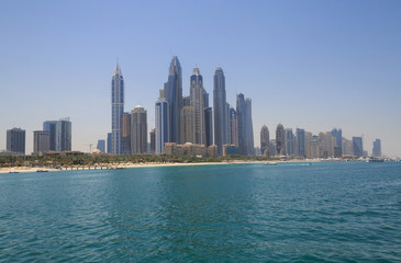view on district Marina in Dubai from sea