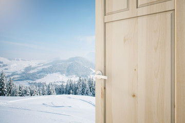 Open door with landscape view