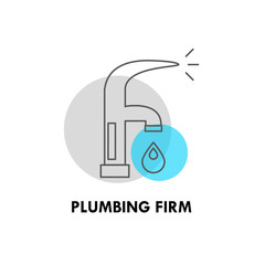 Vector plumbing firm logo isolated on white background.