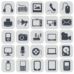 Technology icons on grey background