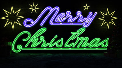 3D Rendering Image of Merry Christmas