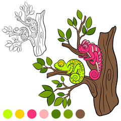 Coloring page. Color me: chameleon. Two little cute chameleons.