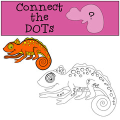 Educational games for kids: Connect the dots. Little cute orange chameleon smiles.