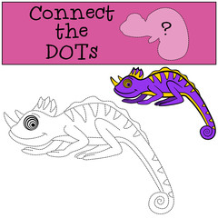 Educational games for kids: Connect the dots. Little cute chameleon smiles.